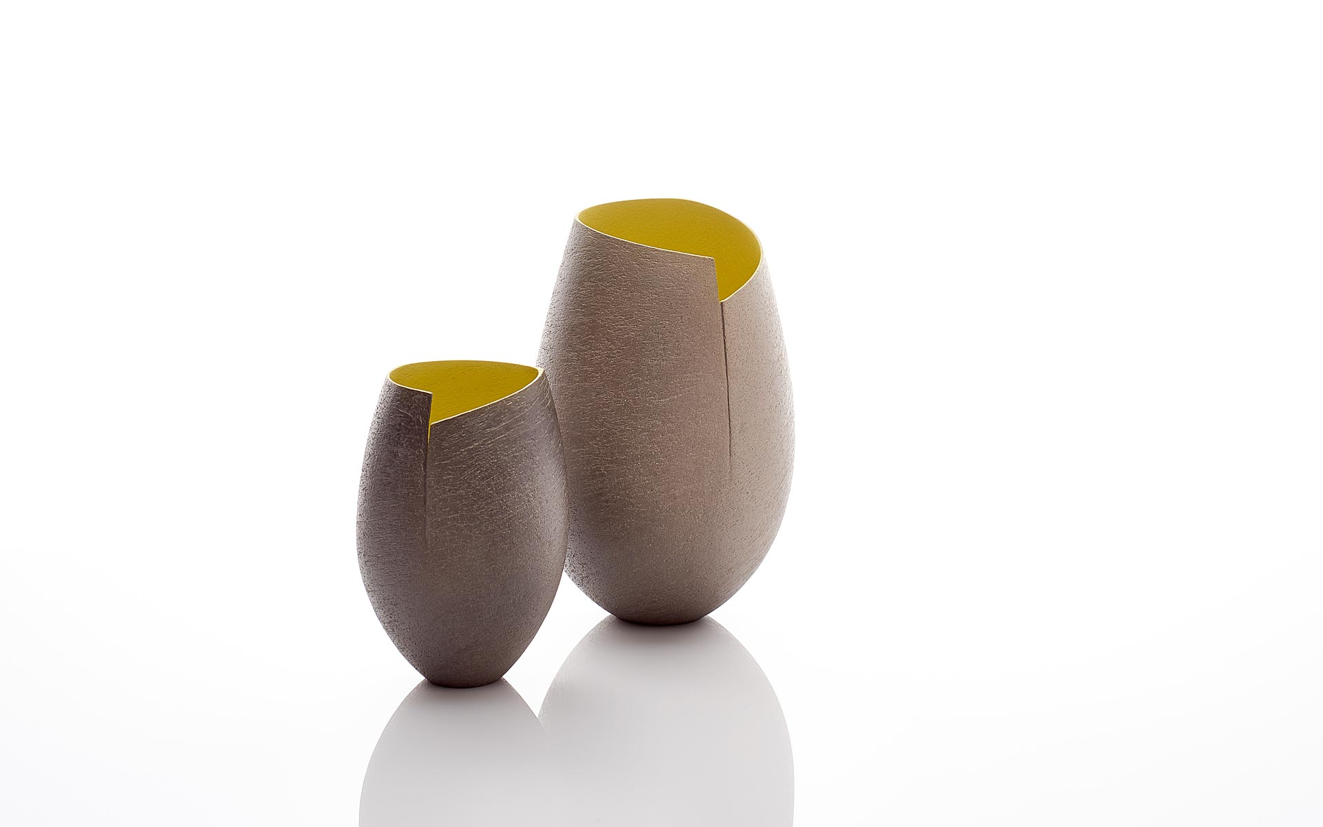 Two Cut Vessels with Yellow Interior