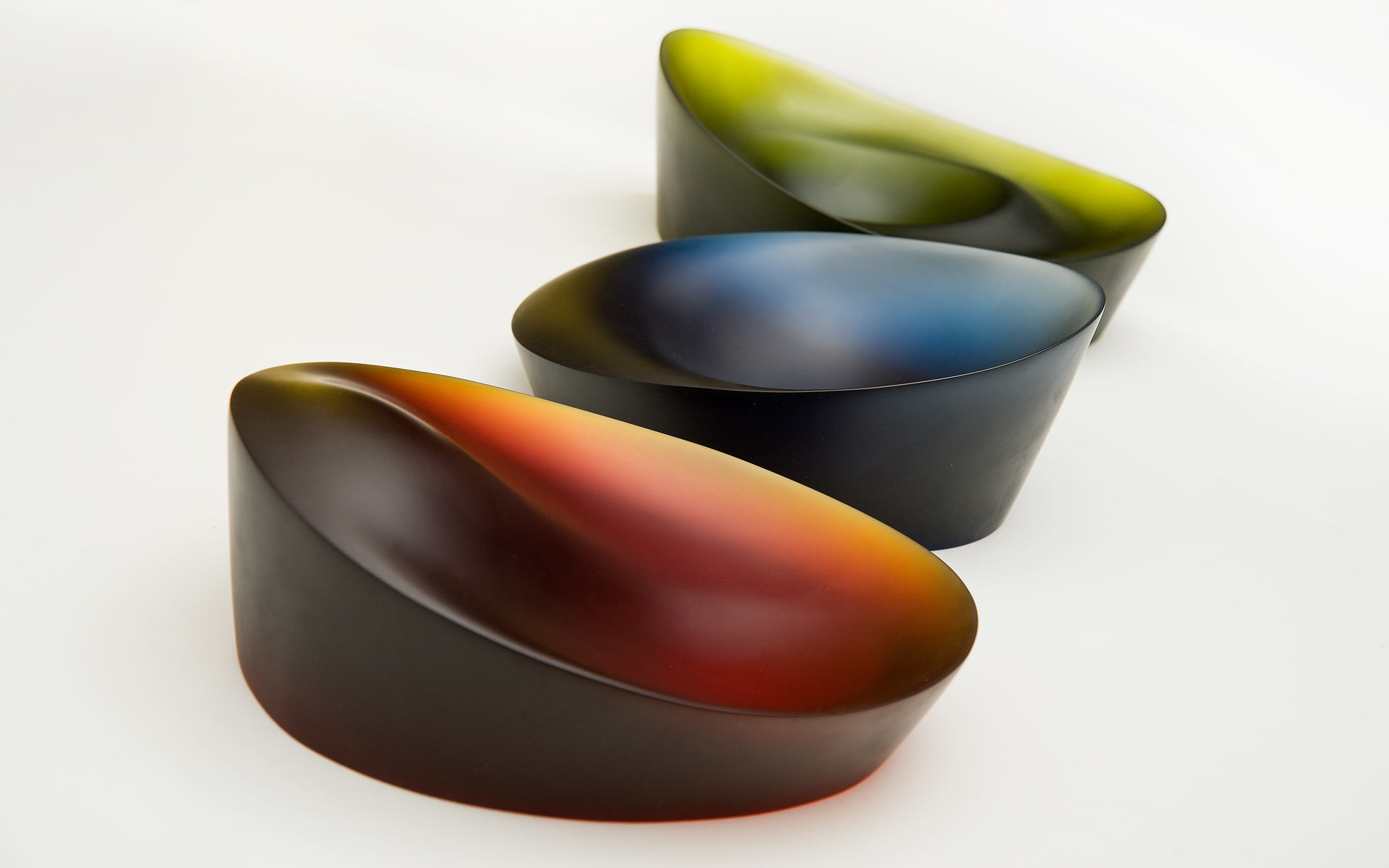 Three Kiln-Cast Glass Bowls